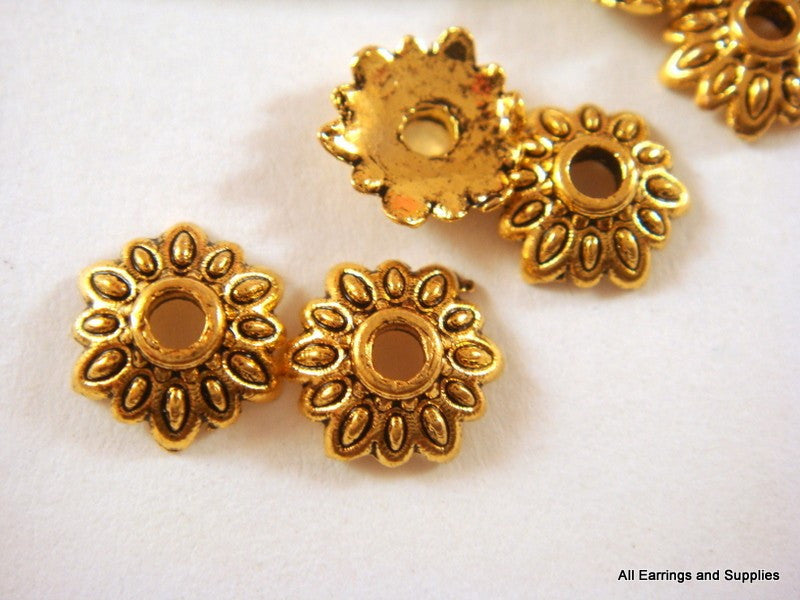 Antique Gold Bead Caps, Round Tibetan Style Flowers LF/NF 7mm - 50 pcs. - F4113BC-AG50