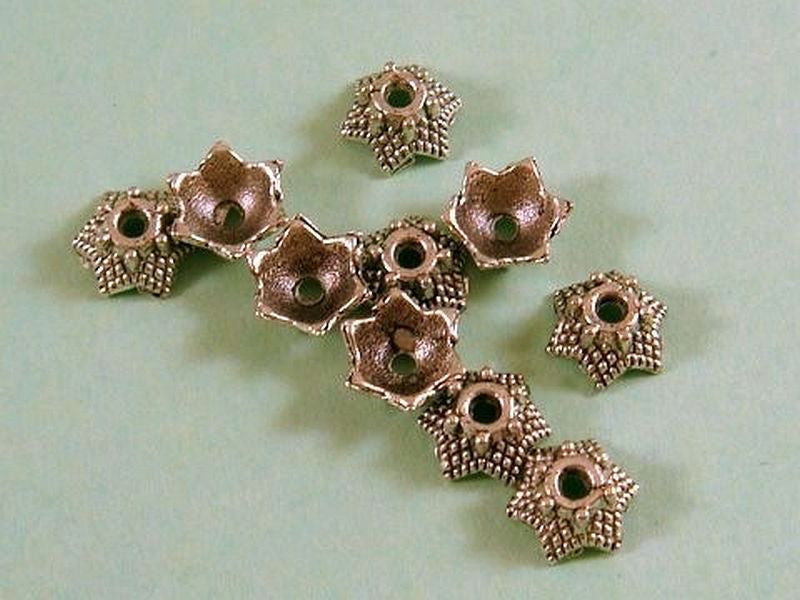 7mm Antique Silver Star Bead Caps