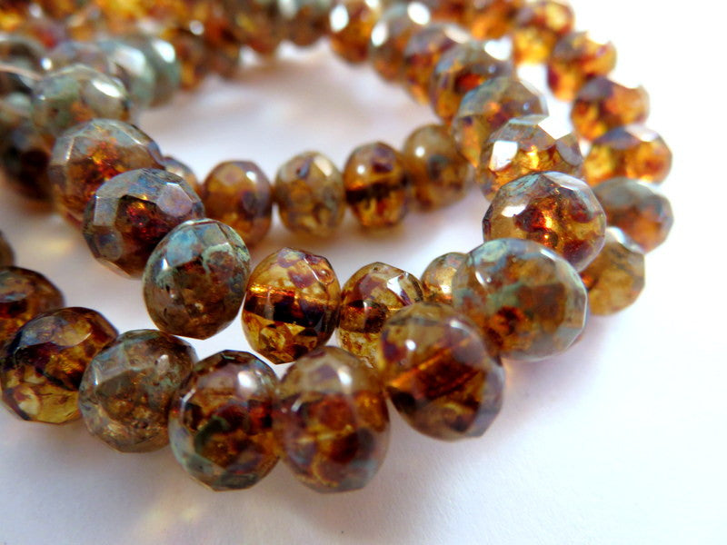 Amber Rondelles, Czech Glass Crystal Picasso Faceted Beads 7x5mm - 25 pcs. - G6036-CTP25