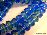7mm Czech Glass Transparent Blue Green Beads