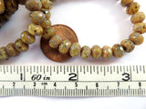 7x5mm Opaque Faceted Yellow Silk Picasso Czech Glass Beads