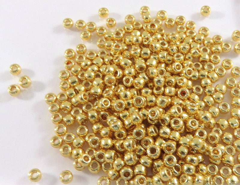8/0 Galvanized Starlight Toho Glass Metallic Gold Seed Beads Japanese Rocailles 2.5mm - 10 grams - TR-08-PF557