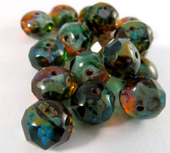 8mm Amber Teal Picasso Czech Glass Beads