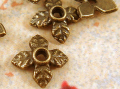 8mm Antique Bronze 4 Petal Flower Bead Caps