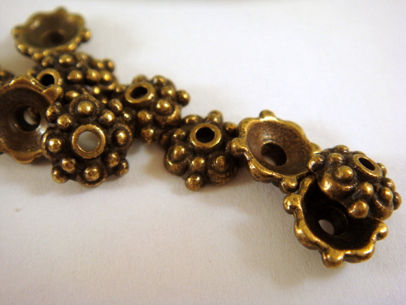 8mm Antique Bronze Bead Caps