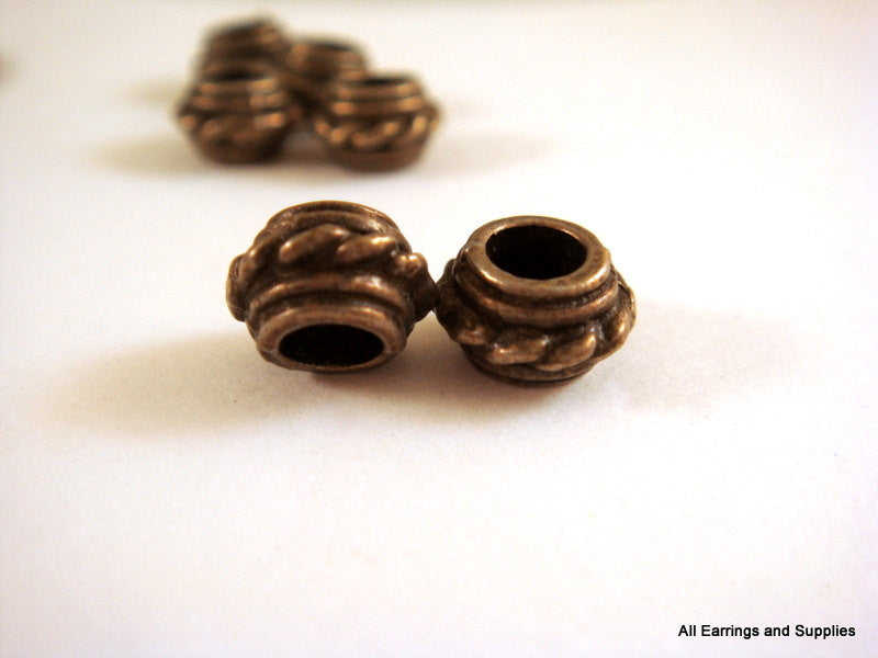 Antique Bronze Beads, Large Hole Donut Rondelle Plated Metal Spacers LF/NF/CF 8x5mm - 10 pcs. - M7052-AB10
