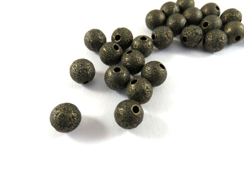 Antique Bronze Beads, Round Plated Brass Stardust Metal Spacers NF 8mm - 25 pcs. - M7033-AB25