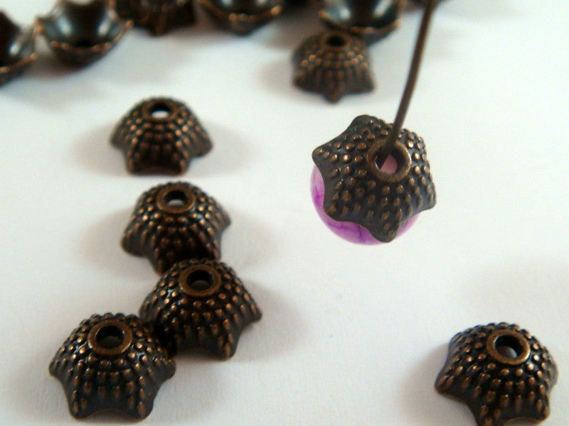 Antique Copper Bead Caps, Domed Tibetan Style Dotted Stars LF/NF/CF 8mm - 30 pcs. - F4153BC-AC30