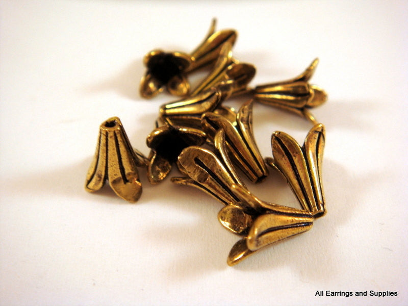 Antique Gold Bead Caps, Lily Flower Cones, Plated Brass 8x8mm - 12 pcs. - 5985-10