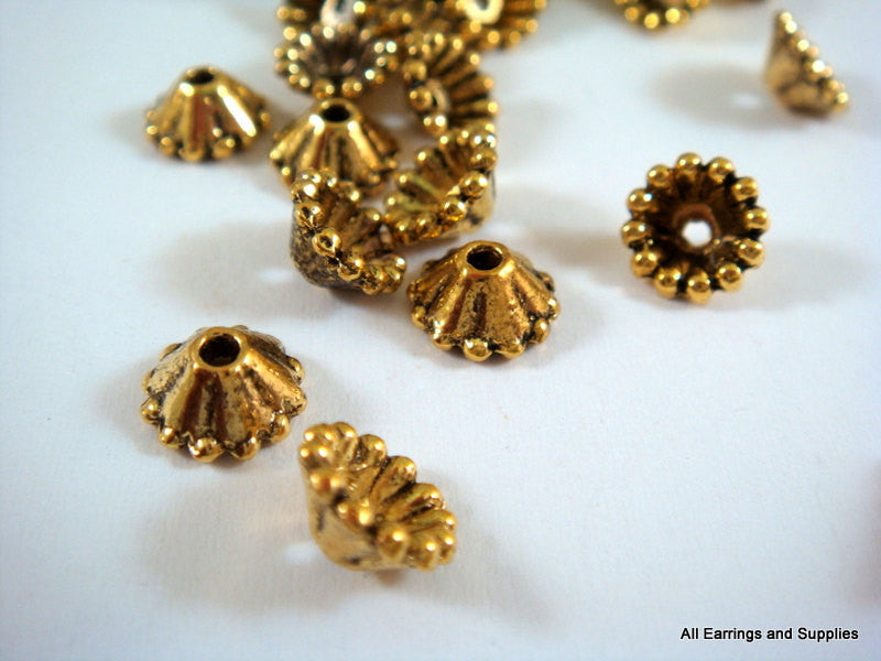 Antique Gold Bead Caps, Small Pewter Flower Cones 8x3mm - 25 pcs. - 6215-11