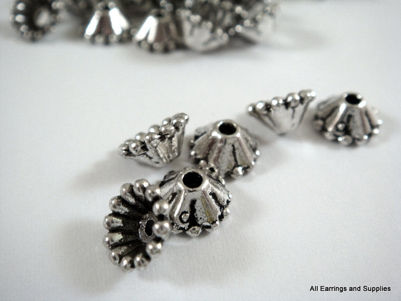 8mm Antique Silver Flower Bead Caps