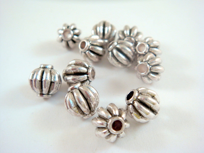 Antique Silver Beads, Round Ribbed Melon Lantern Plated Metal Spacers LF/NF/CF 8mm - 12 pcs. - M7060-AS12