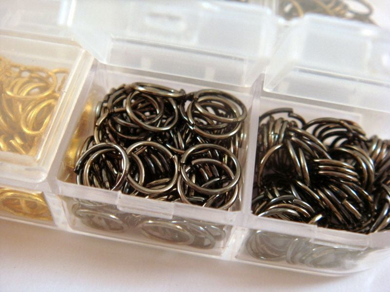 Open Jump Rings, 6 Finish Boxed Assorted, Unsoldered 8mm Assortment - F4003JR-8mmAS