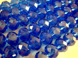 8mm Blue Faceted Glass Rondelles