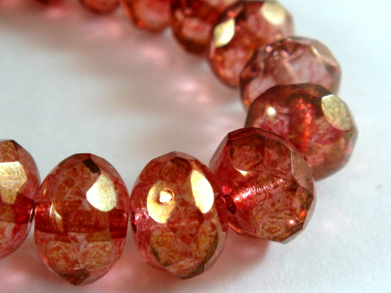 8mm Czech Glass Pink Luster Rondelles