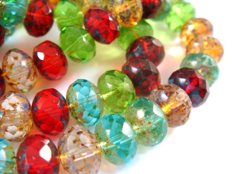 Transparent Rondelles, Czech Glass Faceted Picasso Bead Mix 8x6mm - 25 pcs. - G6041-TMIX25