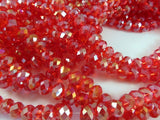 8mm Faceted Red AB Glass Beads