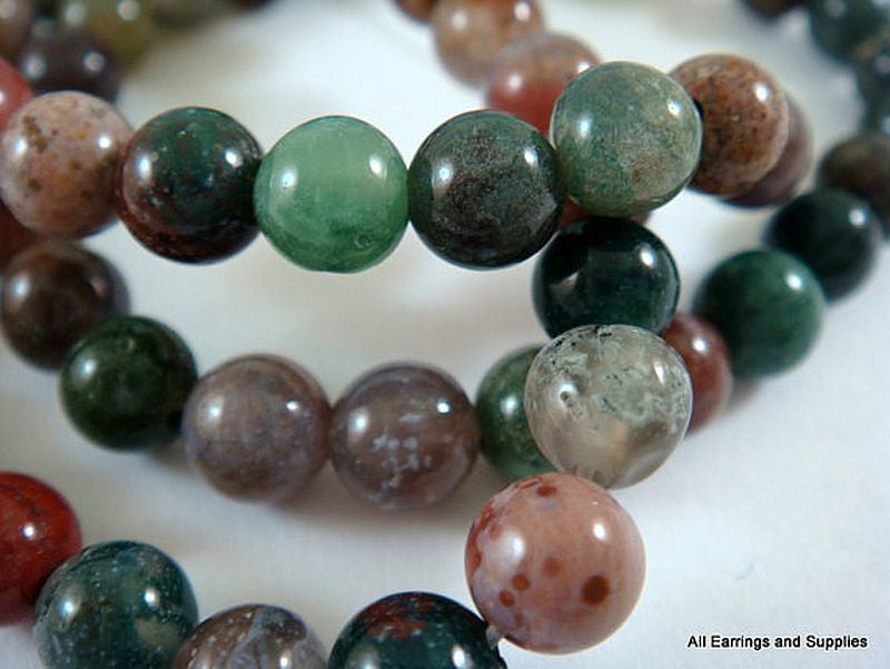 Semi-Precious Stone Beads, Round Fancy Jasper 8mm - 48 pcs. - 5542