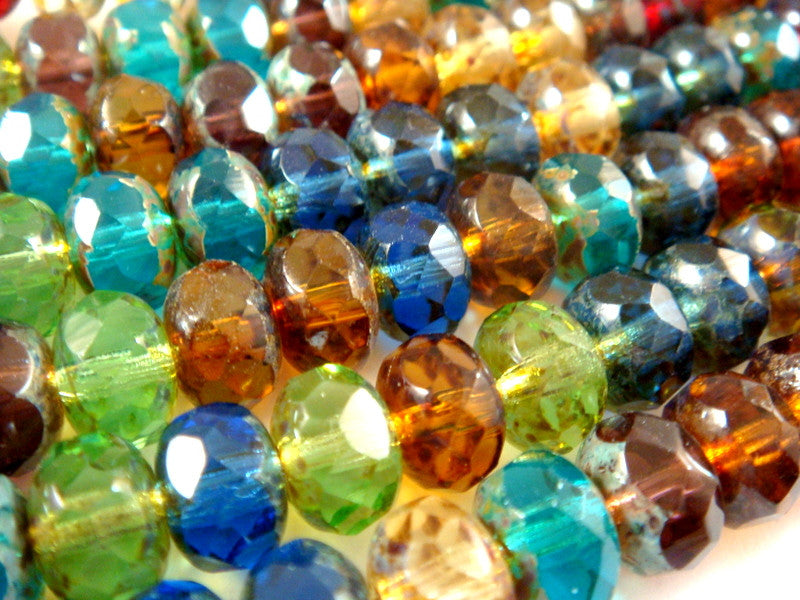 Gemstone Rondelles, Czech Glass Transparent Picasso Bead Mix 9x6mm - 25 pcs. - G6041-DKMIX25