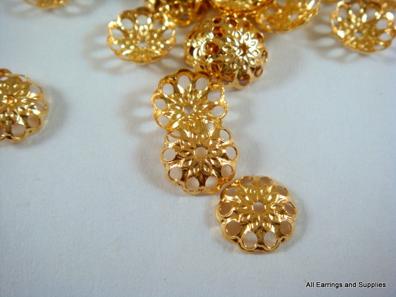 Gold Bead Caps, Round Filigree Flowers, Plated Brass 8mm -  50 pcs. - 6266-10