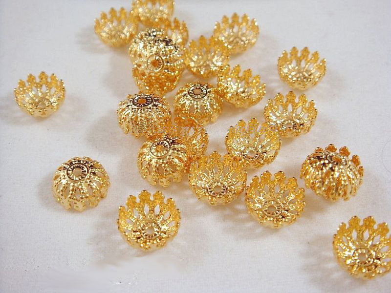 Gold Bead Caps, Plated Domed Round Filigree 8mm - 25 pcs. - 1223-10