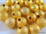 8mm Gold Stardust Beads