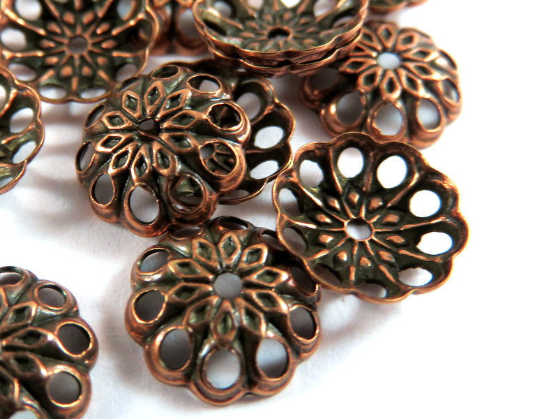 Antique Copper Bead Caps, Round Filigree Flowers, Plated Brass 8mm -  50 pcs. - 3626-11