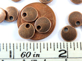 8mm Round Antique Copper Metal Lentil Beads