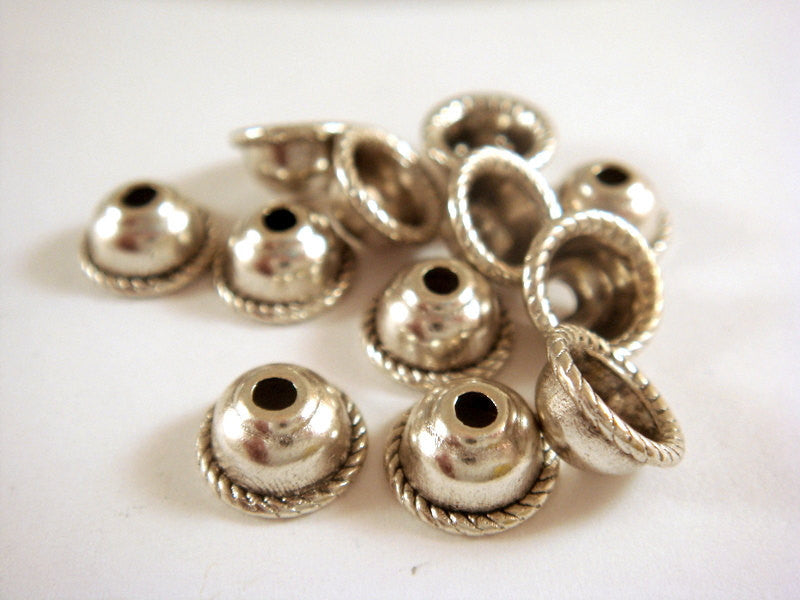 8mm Silver Large Hole Bead Caps