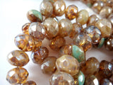 8x6mm Czech Glass Champagne Opal Luster Rondelles