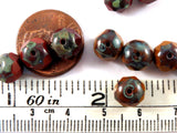 8x6mm Czech Glass Faceted Chesnut Picasso Beads