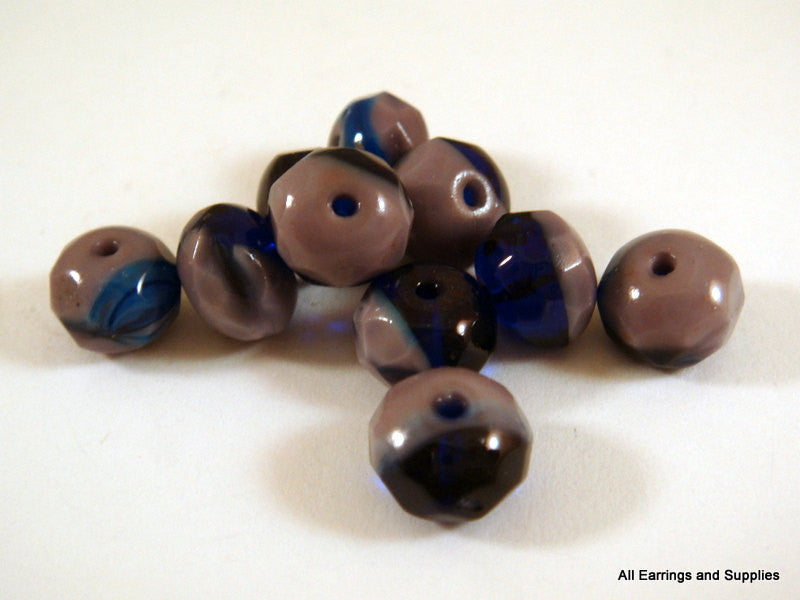 8x6mm Czech Glass Purple Cobalt Blue Rondelles