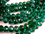 8x6mm Dark Green Luster Facted Glass Beads