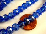 8x6mm Royal Blue Faceted Glass Beads