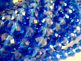 8x6mm Royal Blue Luster Faceted Rondelles
