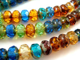 8x6mm Transparent Czech Glass Gemstone Mix