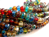 8x6mm Transparent Czech Glass Gemstone Picass Rondelle Mix