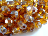 8x6mm Transparent Faceted Amber AB Glass Rondelle Beads