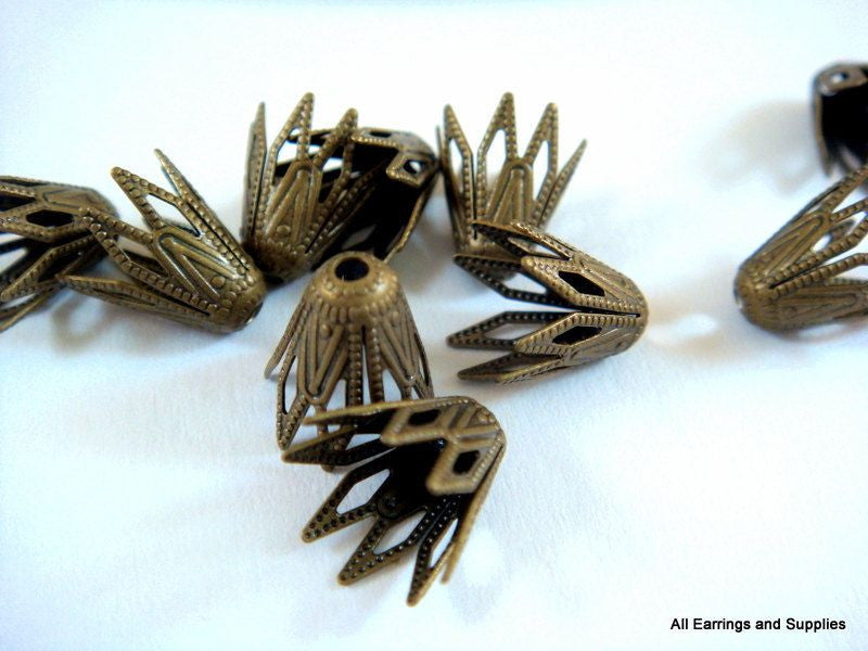 9mm Antique Bronze Cone Bead Caps