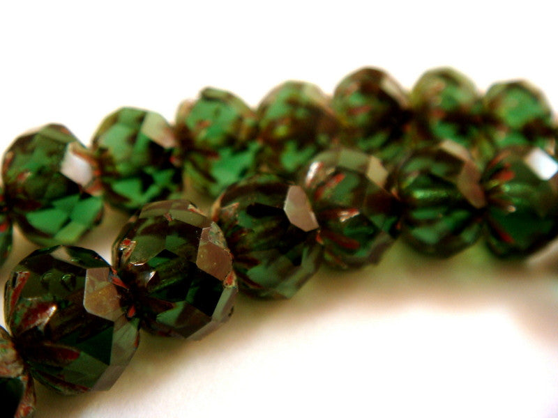 Emerald Crullers, Czech Glass Dark Green Picasso Rondelle Beads 9x6mm - 10 pcs. - G6042-EMG10