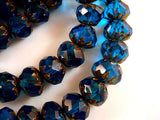 9mm Faceted Blue Brass Picasso Crullers