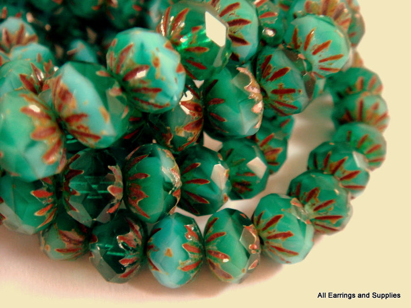 Turquoise Crullers, Czech Glass Faceted Green Picasso Rondelle Beads 9x6mm - 10 pcs. - G6042-TP10
