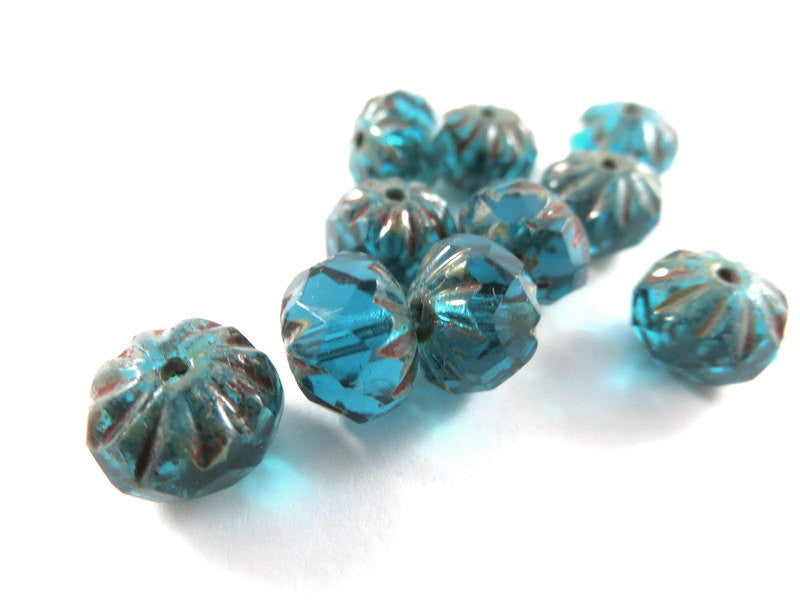 Aqua Blue Crullers, Czech Glass Faceted Dark Teal Picasso Rondelle Beads 9x6mm - 10 pcs. - G6042-AG10