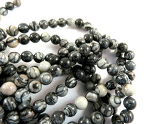 Semi-Precious Stone Beads, Round Black Silk 6mm - 67 pcs. - 6318