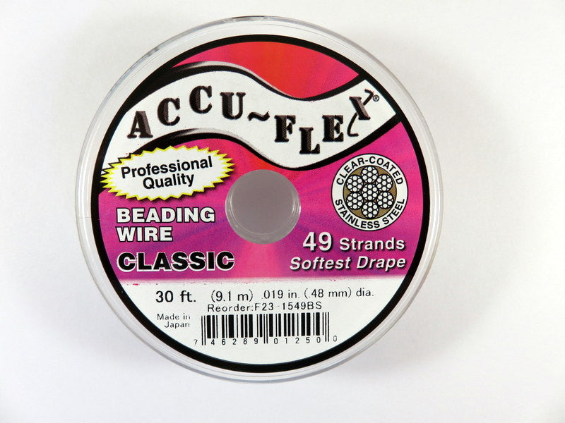 Beading Wire: Accu-Flex Clear Coated Stainless Steel, 49 strand, .019 in. - 30 feet - 1123-S