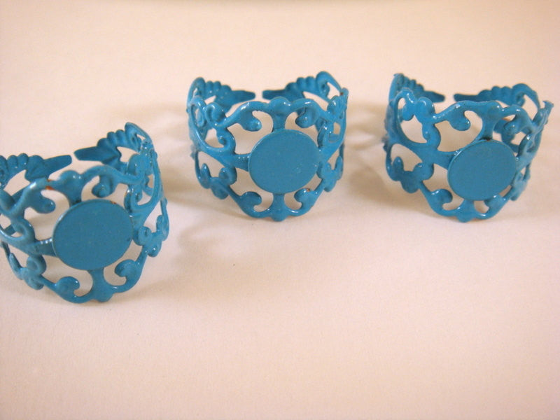 Blue Ring Bases, Adjustable Copper Filigree Blanks - 3 pcs. - R8001-B3