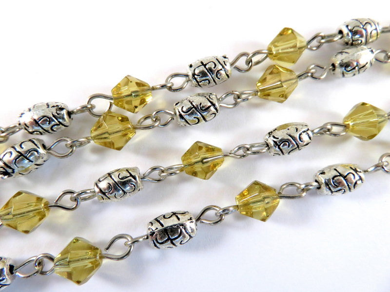 Topaz Beaded Chain, Nickel Plated with Gold Glass Bicones & Etched Oval Spacers 7x4mm - 39 in. - STR9087-GD39