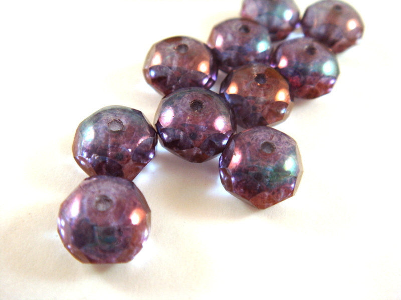 Amethyst Luster Rondelles, Czech Glass Faceted Purple Beads 8x6mm - 10 pcs. - G6041-TAM10