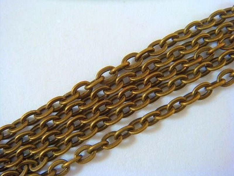 Antique Brass Chain, Flat Oval Cable Style, Unsoldered, 3x2mm - 16 feet - STR9024CH-AB16