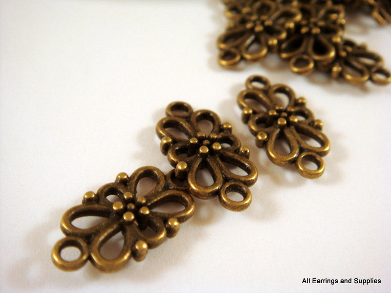 Antique Bronze Connectors, Filigree Flower Links, Double-Sided, NF 16x8mm - 25 pcs. - F4125LK-AB25